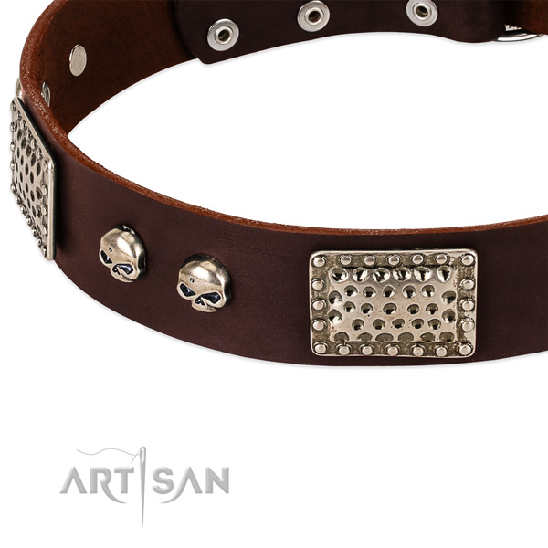 Corrosion proof buckle on full grain genuine leather dog collar for your pet
