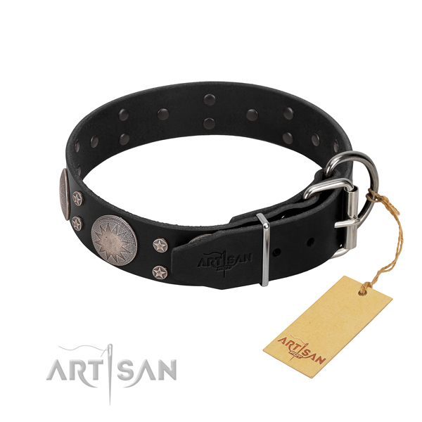 Soft to touch genuine leather dog collar with studs for your lovely pet