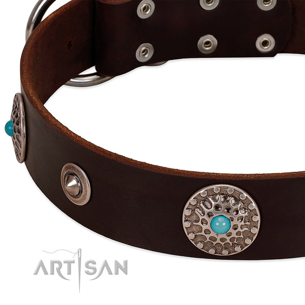 Handmade collar of full grain genuine leather for your stylish canine