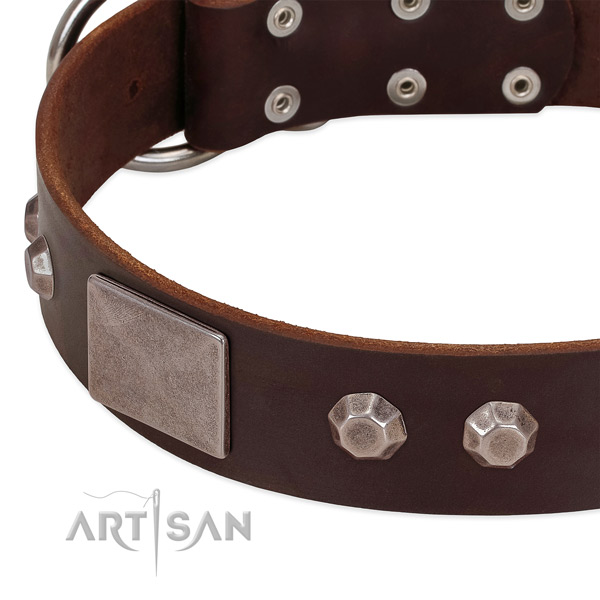 Comfortable wearing soft natural genuine leather dog collar