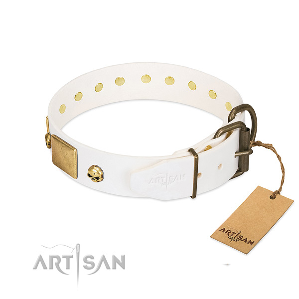 High quality full grain natural leather collar handcrafted for your canine