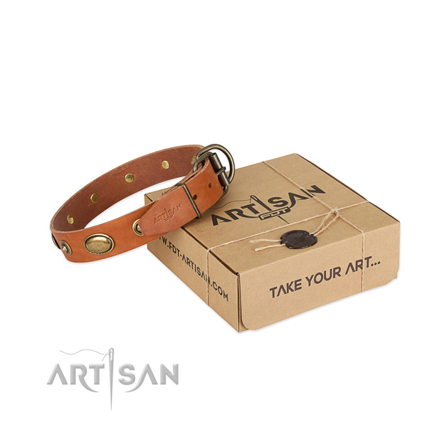 Strong buckle on natural leather dog collar for your doggie