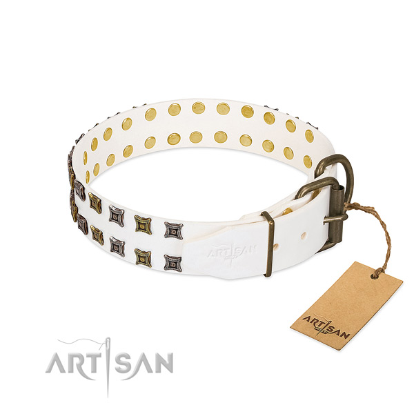Soft leather dog collar made for your doggie