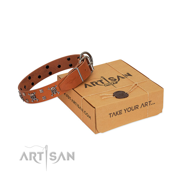 Durable genuine leather dog collar with corrosion proof D-ring