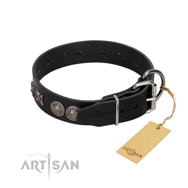 Daily use dog collar of leather with unique adornments