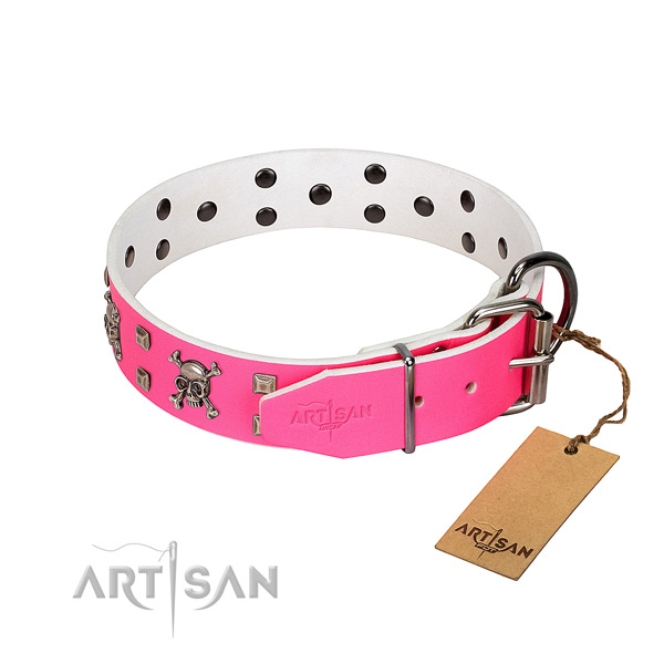 Rust-proof fittings on full grain leather dog collar