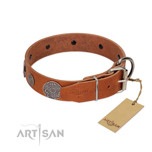 Best quality natural genuine leather collar for your impressive canine