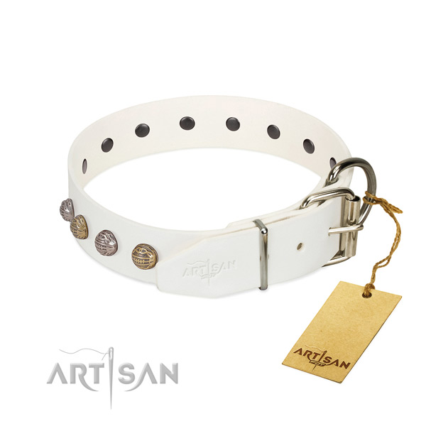 Comfy wearing quality natural genuine leather dog collar