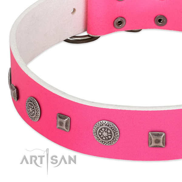 Gentle to touch full grain genuine leather collar with adornments for your pet
