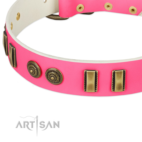 Strong hardware on full grain leather dog collar for your pet