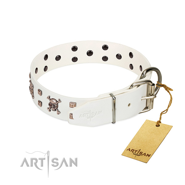 Comfortable wearing soft to touch full grain natural leather dog collar with decorations