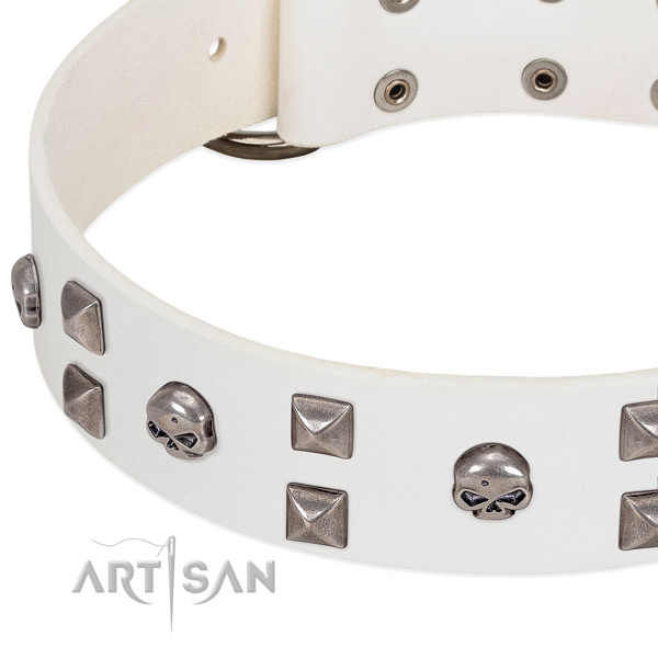 Gentle to touch full grain leather dog collar handmade for your four-legged friend