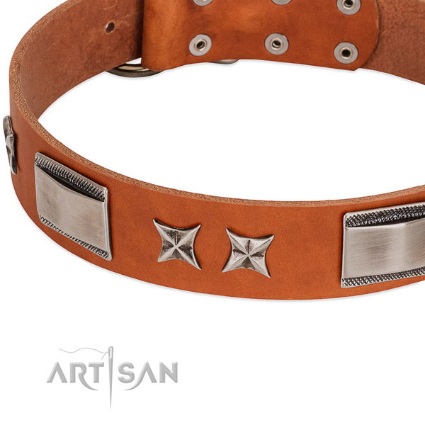 Soft natural leather dog collar with rust-proof buckle