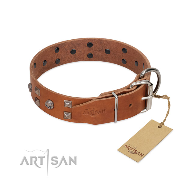 Easy to adjust full grain leather dog collar with corrosion resistant hardware