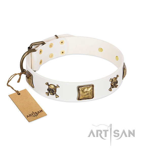 Fashionable full grain natural leather dog collar with rust resistant studs