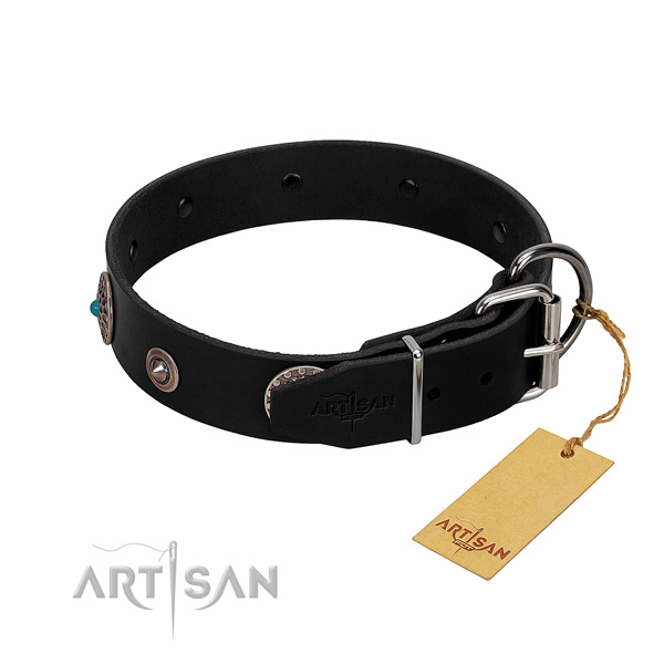 Trendy decorated natural leather dog collar