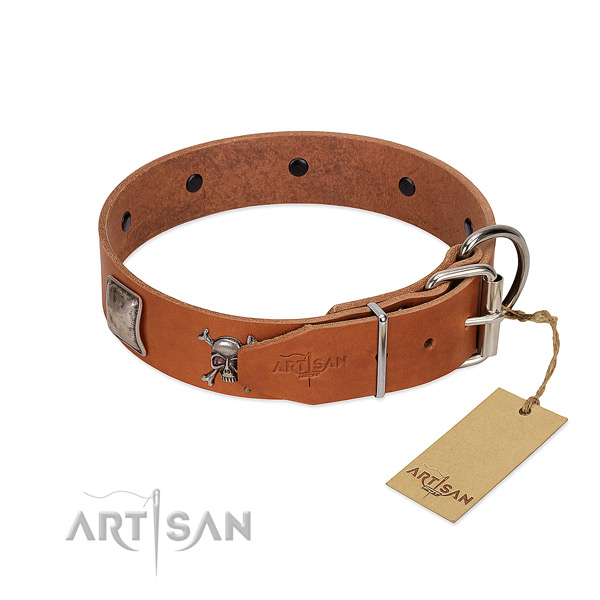 Handmade genuine leather collar for your handsome pet