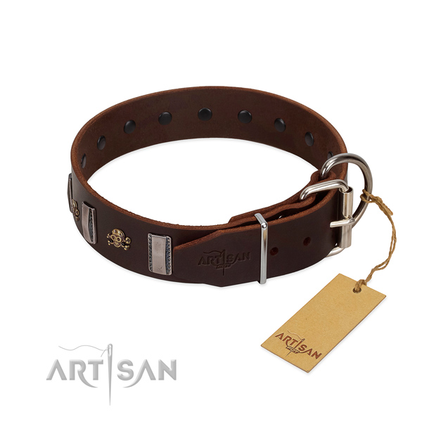 Comfy wearing soft full grain leather dog collar with decorations