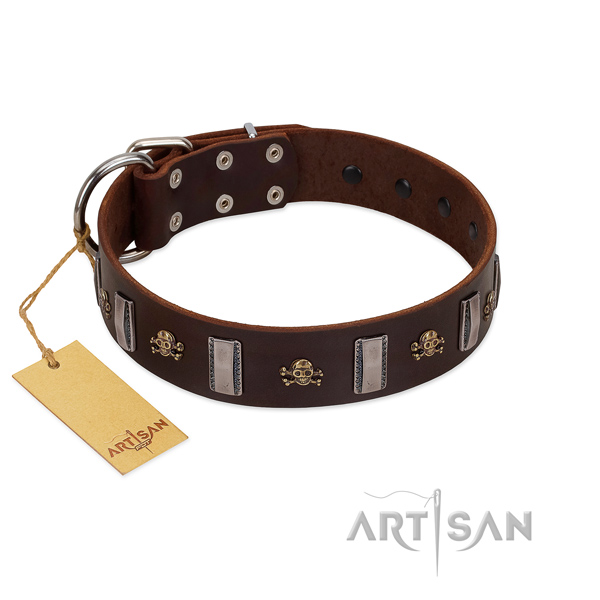 Strong full grain natural leather dog collar for your attractive four-legged friend