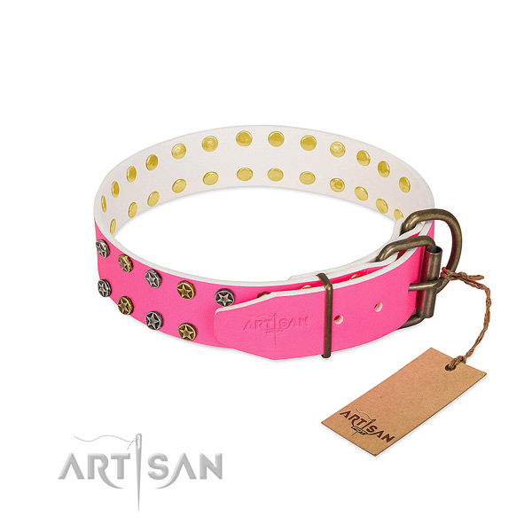 Best quality full grain leather collar with decorations for your four-legged friend