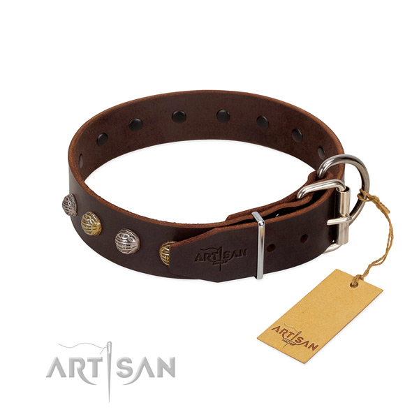 Fine quality genuine leather dog collar with strong buckle
