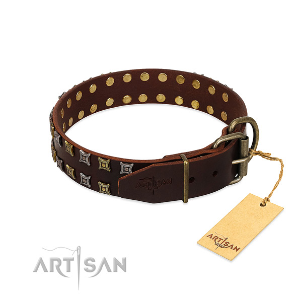 Gentle to touch full grain genuine leather dog collar crafted for your doggie