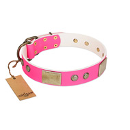 """Flower Parade"" FDT Artisan Pink Leather Pitbull Collar with Plates and Studs"