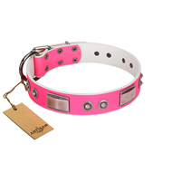"""Lady's Whim"" FDT Artisan Pink Leather Pitbull Collar with Plates and Spiked Studs"