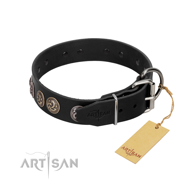 Corrosion proof D-ring on trendy genuine leather dog collar