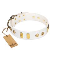 """Golden Union"" Elegant FDT Artisan White Leather Pitbull Collar with Old Bronze-like Dotted Studs and Tiles"