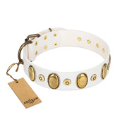 """Pearly Grace"" FDT Artisan White Leather Pitbull Collar with Engraved Ovals and Small Dotted Studs"