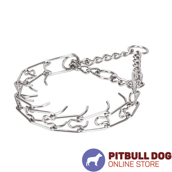 Stainless steel prong collar with reliable O-rings for leash attachment
