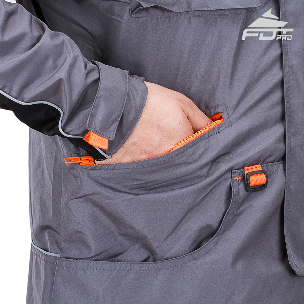 Grey Color Pro Design Dog Training Jacket with Reliable Side Pockets