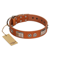 """Pawsy Glossy"" FDT Artisan Exclusive Tan Leather Pitbull Collar 1 1/2 inch (40 mm) wide"