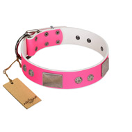 """Pink Blush"" Premium Quality FDT Artisan Pink Designer Pitbull Collar with Plates and Studs"