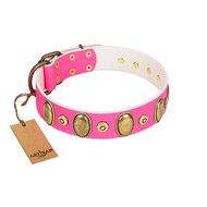"""Drawing Power"" FDT Artisan Pink Leather Pitbull Collar with Engraved Ovals and Dotted Studs"