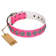 """Pink Garden"" Designer FDT Artisan Pink Leather Pitbull Collar for Stylish Look"