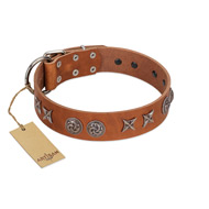 """Brave Spirit"" Handmade FDT Artisan Designer Tan Leather Pitbull Collar with Shields"