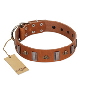 """Golden Crossbones"" Handmade FDT Artisan Tan Leather Pitbull Collar with Plates and Skulls"