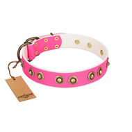 """Bright Delight"" Pink FDT Artisan Leather Pitbull Collar with Large Old Bronze-like Plated Studs"