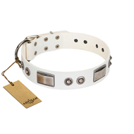 """Good-Luck Piece"" FDT Artisan White Pitbull Collar Adorned with Chrome Plated Studs and Plates"
