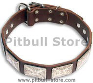 Leather Brown collar 25'' for PITBULL /25 inch dog collar -c83