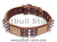 PITBULL handcrafted Brown dog collar 20 inch/20'' collar-C86