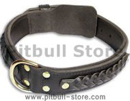 Leather Black collar 26'' for PITBULL /26 inch dog collar-C55s33