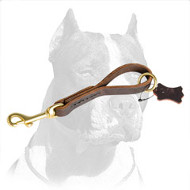 Comfy Leather Pitbull Dog Leash Pull Tab