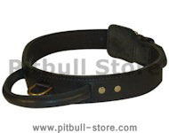 2 Ply Leather Agitation Dog Collar With Handle for Pitbulls